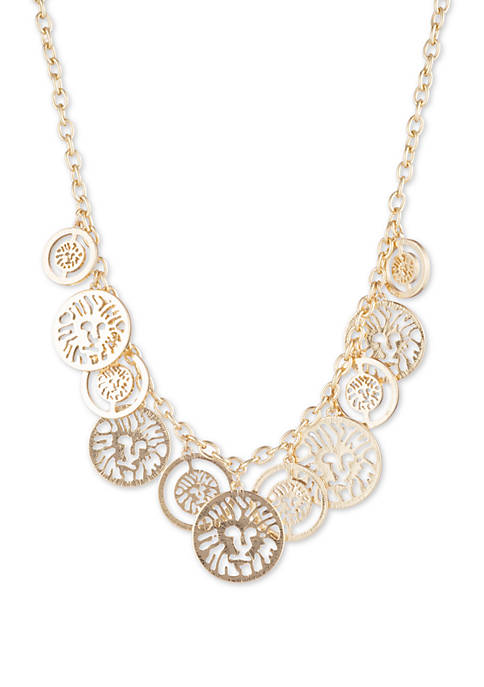 Anne Klein Gold Tone Frontal Coin Necklace