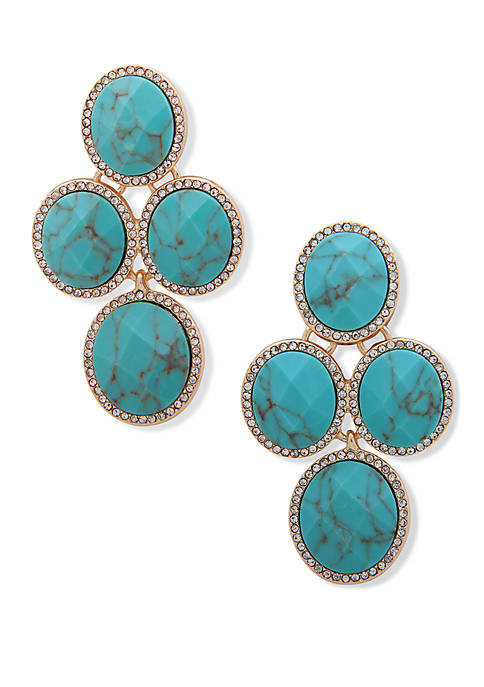 Gold Tone Crystal and Turquoise Oval Stone EZ Comfort Clip Earrings