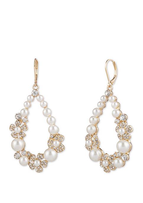 Anne Klein Gold Tone and Pearl Teardrop Earrings