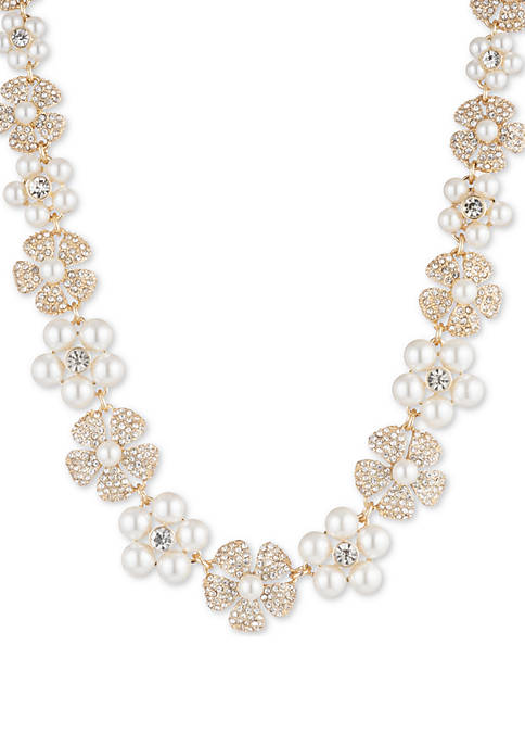 Anne Klein Gold Tone and White Pearl Crystal