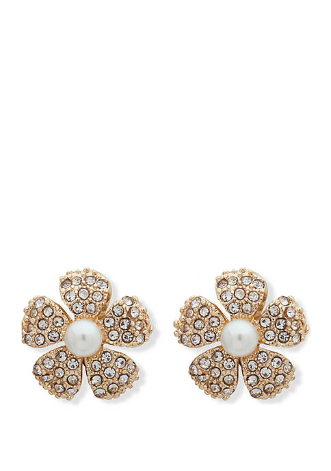 Gold Tone White Pearl Crystal Pave Flower Button EZ Comfort Clip Earrings
