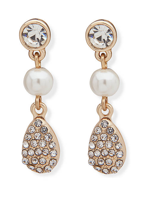 Anne Klein Gold Tone White Pearl Crystal Double
