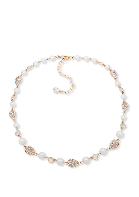 Anne Klein Gold Tone White Pearl Crystal Pave