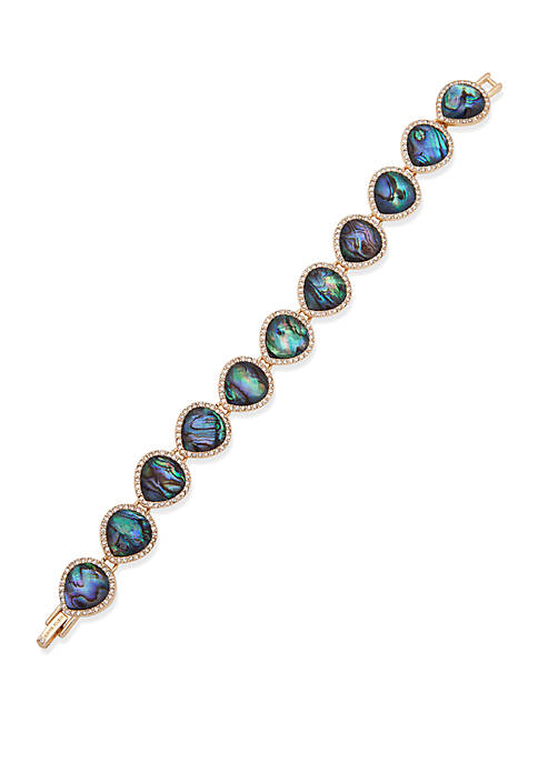 Gold Tone Flex Pear Stone Bracelet