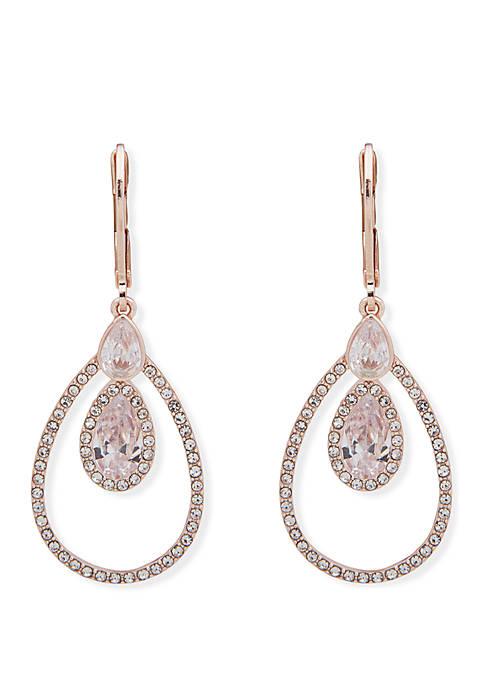 Anne Klein Cubic Zirconia Pave Small Teardrop Earrings
