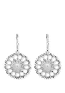 Anne Klein Silver Tone White Pearl and Cubic Zirconia Pave Open Disc Drop Earrings