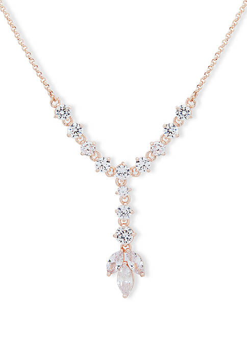 Rose Gold Tone Cubic Zirconia Pave and Navette Y Necklace