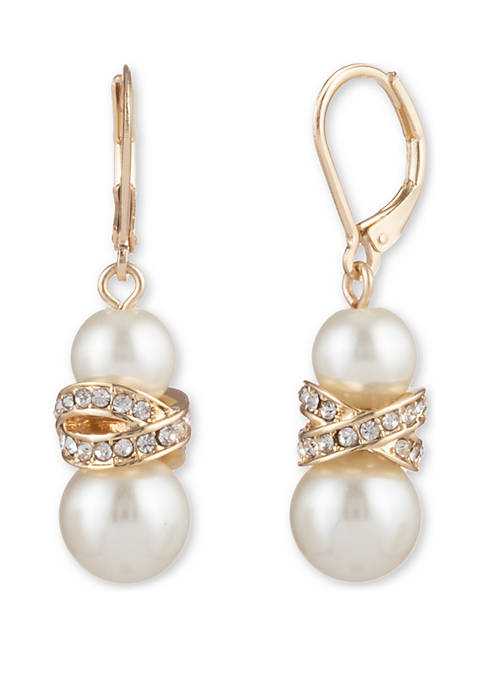 Gold Tone White Pearl and Crystal Lever Back Drop Pave Earrings