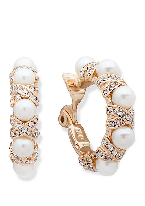 Anne Klein Gold Tone White Pearl and Crystal
