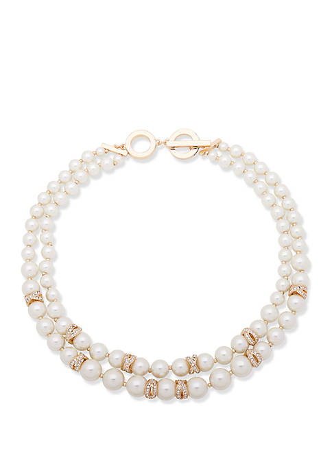 Anne Klein Gold Tone Pearl and Crystal Pave