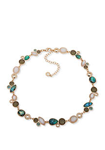 Anne Klein Gold Tone and Green Multi Stone Cluster Collar Necklace