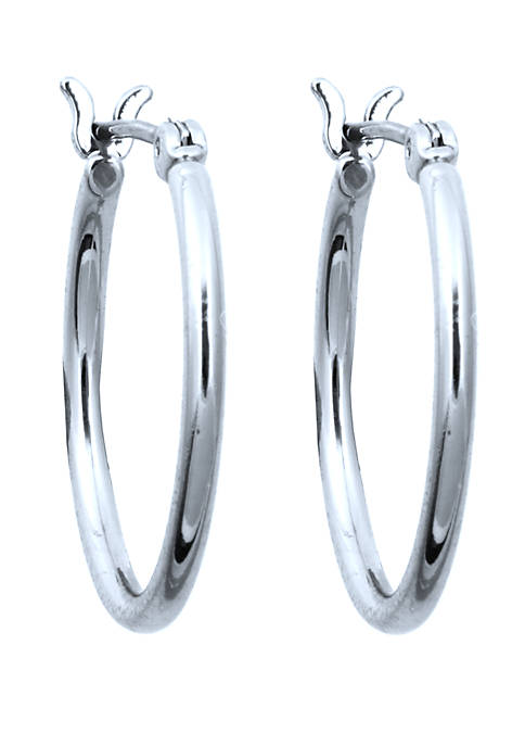 Anne Klein Silver Tone Small Click Top Hoop