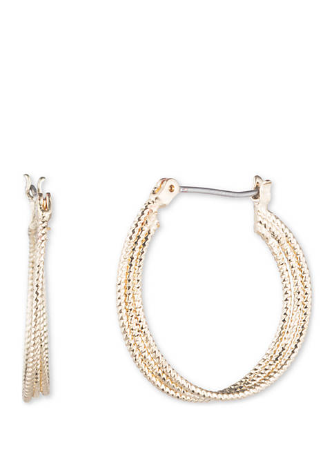 Anne Klein Gold Tone Medium Textured Hoop Earrings