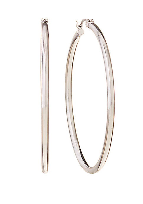 Anne Klein Silver Tone Medium Click Top Hoop