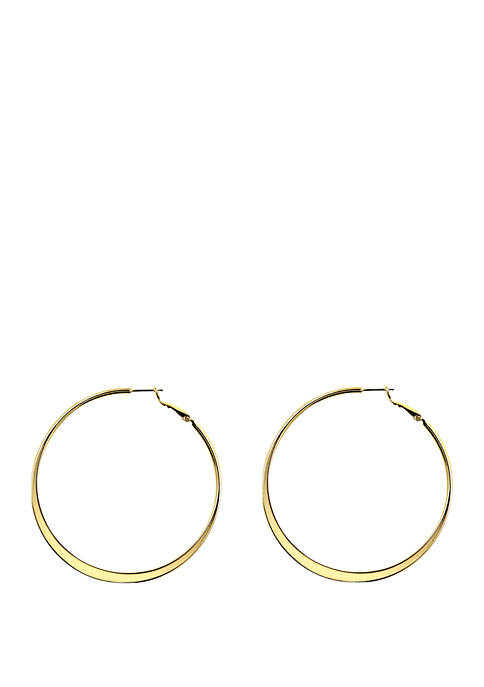 Anne Klein Gold Tone Large Click Top Hoop