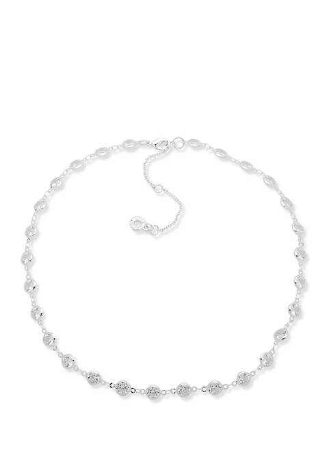 Silver Tone and Crystal Channel Necklace