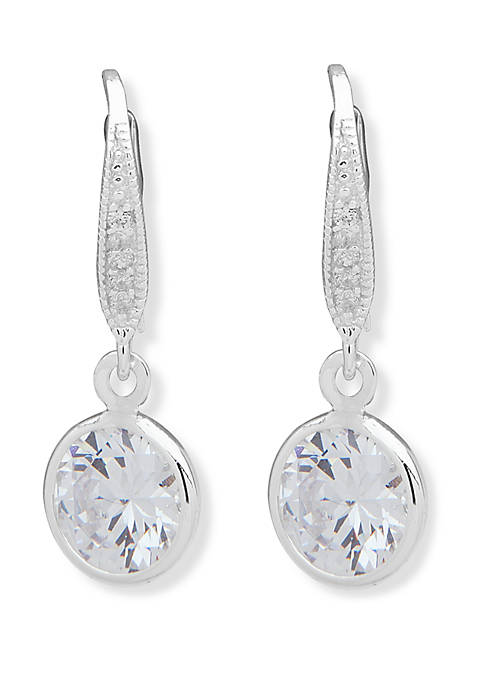 Anne Klein Silver Tone and Crystal Channel Drop