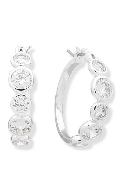 Anne Klein Silver Tone and Crystal Hoop Earrings