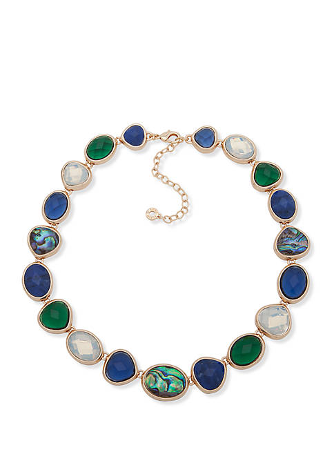 Gold Tone and Multi Stone Collar Necklace