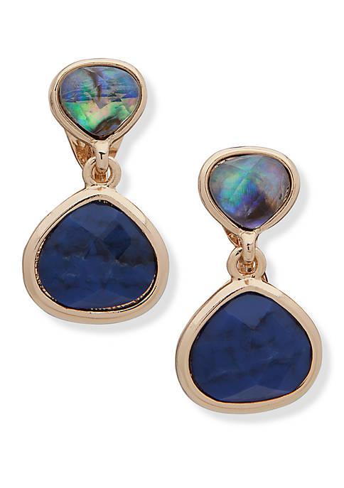Gold Tone EZ Comfort Clip Double Drop Earrings