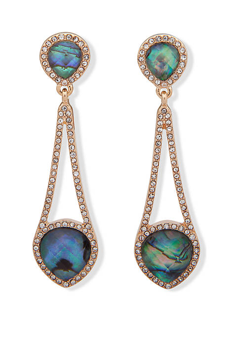 Anne Klein Gold Tone and Abalone Linear Earrings