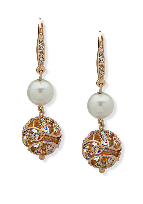 Gold Tone and White Pearl Filigree Double Drop Earrings