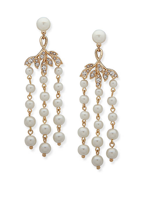 Gold Tone and Pearl Vine Chandelier Earrings