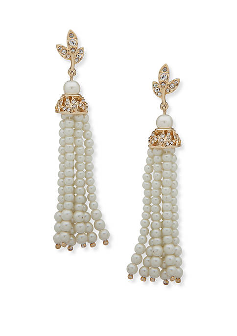 Anne Klein Gold Tone and Pearl Filigree Tassel