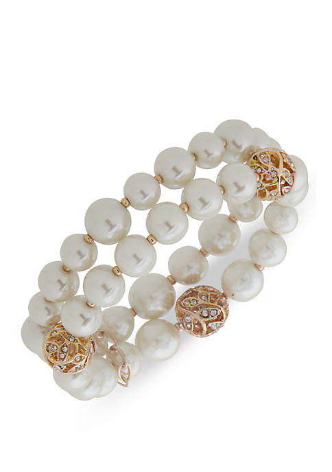 Gold Tone Pearl 2 Row Bracelet