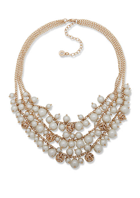 Gold Tone and Pearl Filigree Ball Shaky Necklace