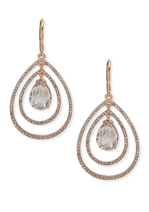 Anne Klein Silver Tone Crystal Pearl Orbital Drop
