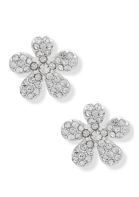 Silver Tone Crystal Pave Flower Button Earrings