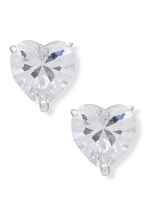 Anne Klein Silver Tone Crystal Heart Button Earrings