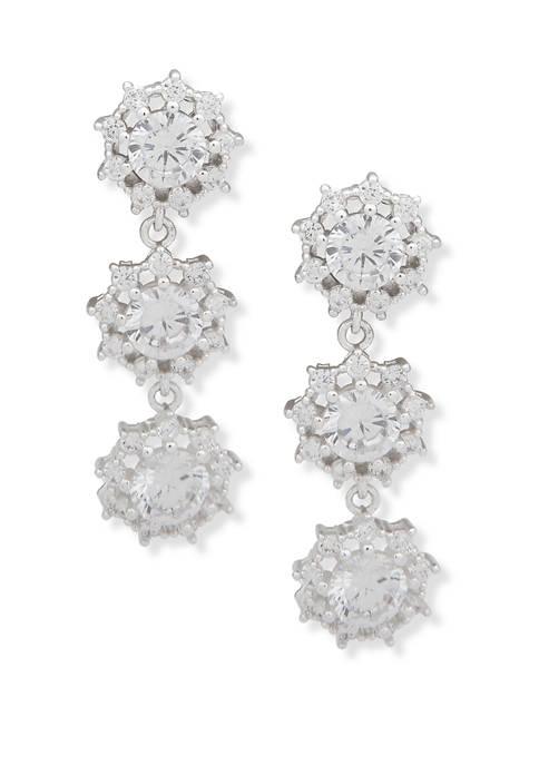 Anne Klein Silver Tone Crystal Triple Stone Linear
