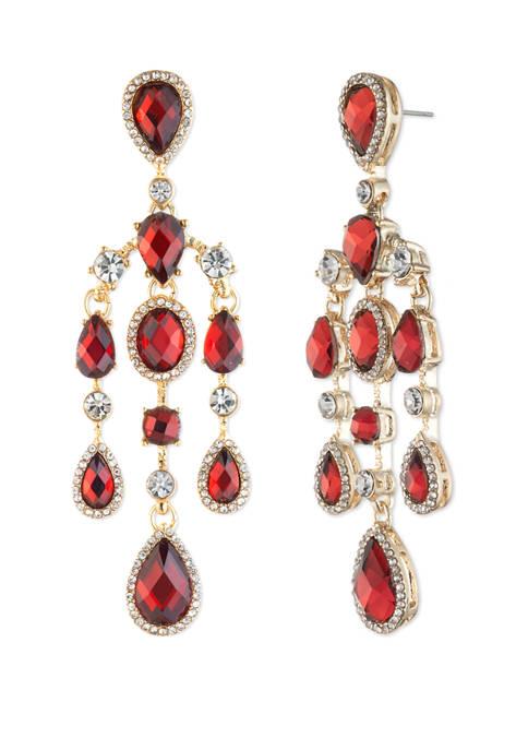 Anne Klein Gold Tone Siam Chandelier Earrings
