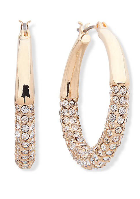 Anne Klein Gold Tone and Crystal Pave Tubular
