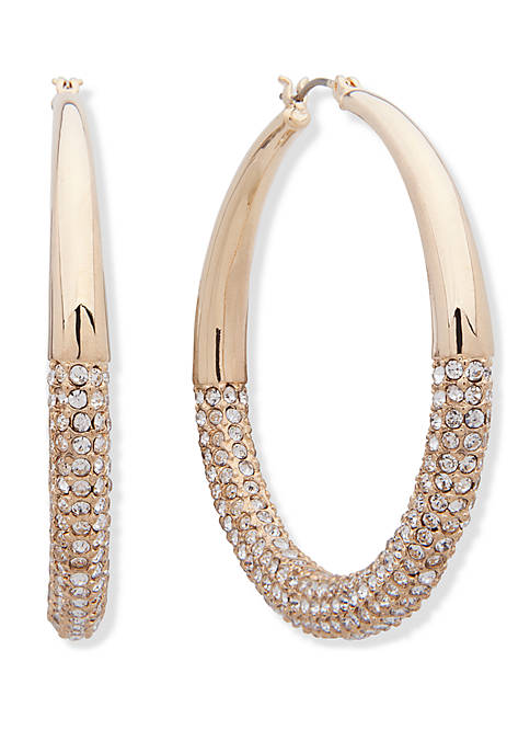 Anne Klein Gold Tone and Crystal Pave Taper