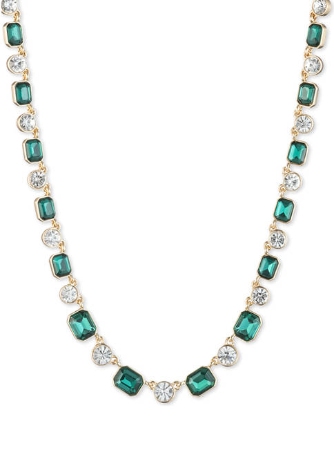 Anne Klein Gold Tone Emerald Stone Collar Necklace