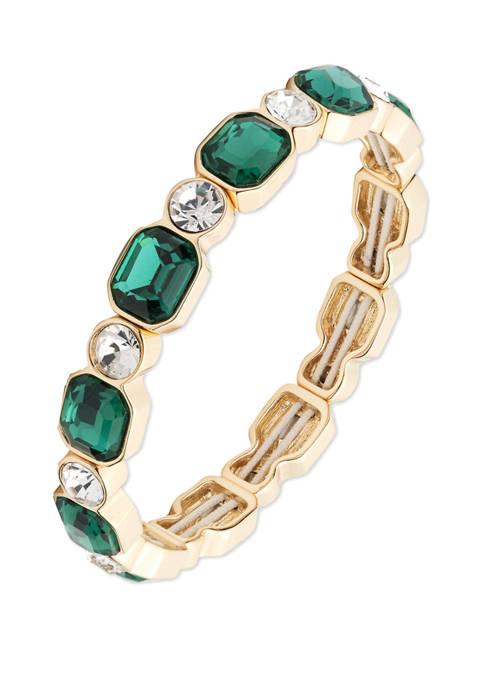 Anne Klein Gold Tone Emerald Stretch Bracelet