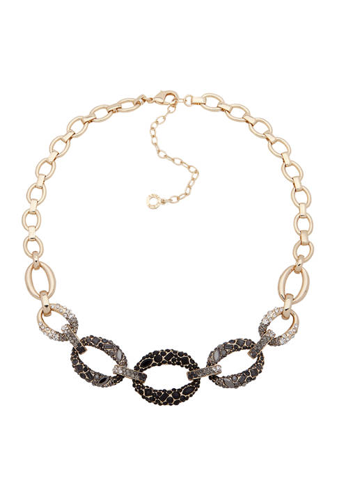 Anne Klein Gold Tone Jet Ombre Frontal Necklace