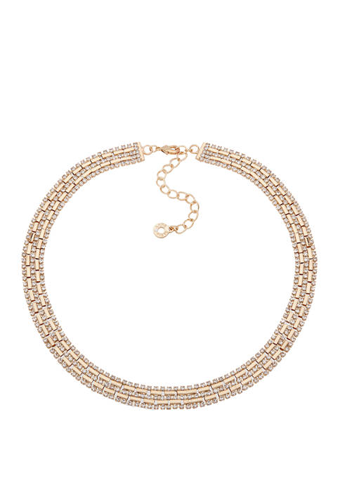 Anne Klein Gold Tone Crystal Pave Chain Collar