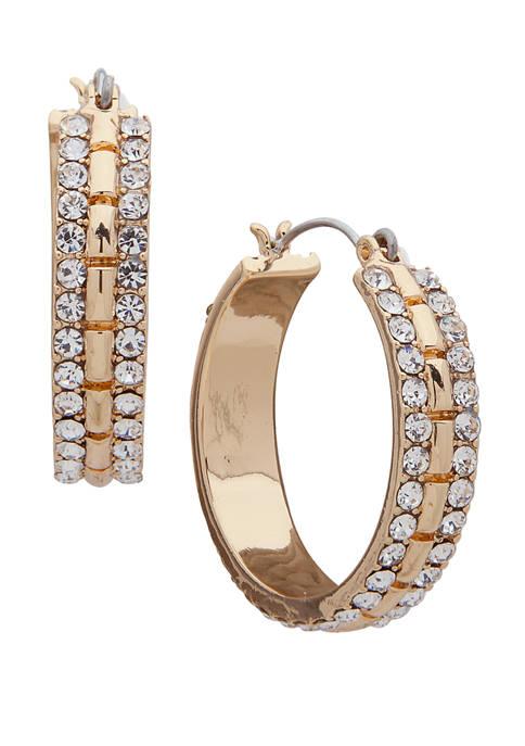 Gold Tone Crystal Click Top Hoop Earrings