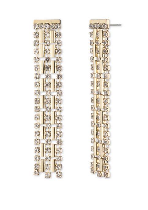 Gold Tone Crystal Chain Waterfall Chandelier Earrings
