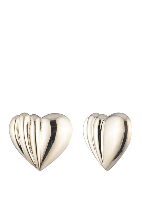 Gold Tone EZ Comfort Clip Heart Button Earrings