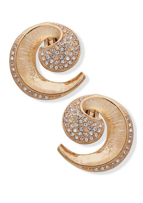 Gold Tone Crystal Swirl Button EZ Comfort Clip Earrings