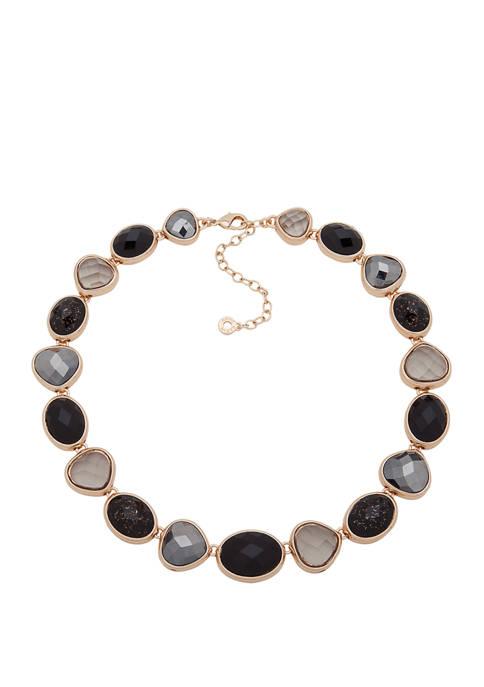 Gold Tone Jet Multi Stone Collar Necklace