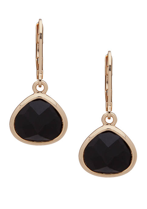 Gold Tone Jet Stone Drop Earrings
