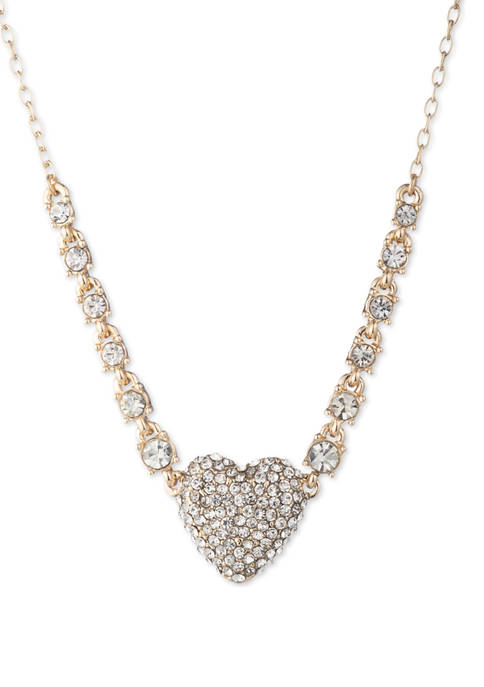 Anne Klein Gold Tone Crystal Heart Pave Pendant