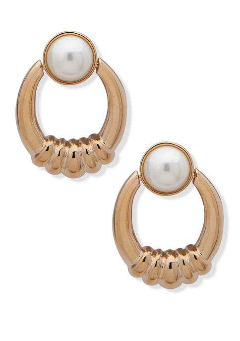 Gold Tone White Pearl Door Knocker Earrings
