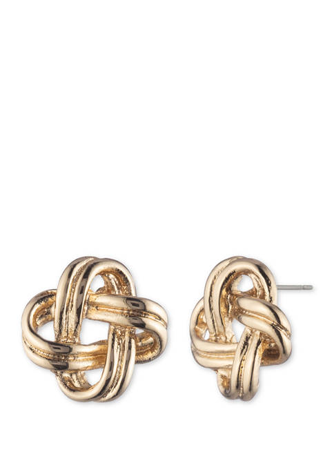 Anne Klein Gold Tone Knot Button Earrings